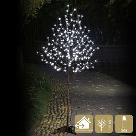 Árbol de metal con 208  luces led blancas