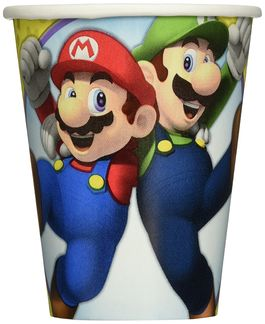 Pack 8 vasos de cartón Super Mario Bros 266ml