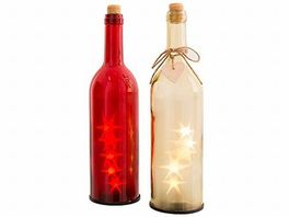 Botella cristal con luz led